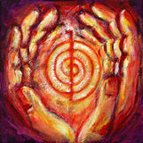 Reiki Symbol with Healing Hands Royalty Free Stock Photos