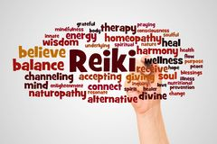 Reiki word cloud and hand with marker concept