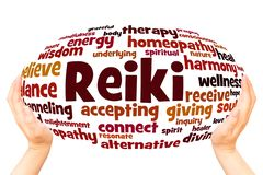 Reiki word cloud hand sphere concept royalty free stock images
