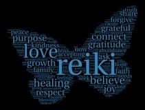 Reiki-Wort-Wolke lizenzfreie abbildung