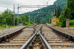 Reimegrend train station. Old train station in Norwegian mountains Stock Images