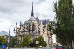 Reims Cathedral. A rear view of the Notre-Dame de Reims where the kings of France were crowned. France Royalty Free Stock Photography