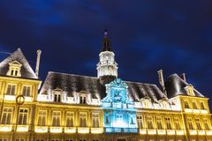 Reims City Hall at night royalty free stock photos