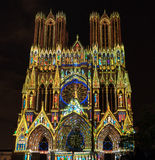 REIMS, FRANCE/EUROPE - SEPTEMBER 12 : Light Show at Reims Cathed Royalty Free Stock Photo