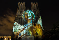 REIMS, FRANCE/EUROPE - SEPTEMBER 12 : Light Show at Reims Cathed Royalty Free Stock Photos