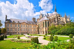Reims, France. Old gothic cathedral of Reims, France, one of the first and greatest cathedrals in history stock image