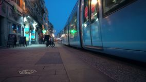 The Reims tramway is a tram system of rail in Reims, France. 4k stock video