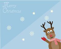 Rein deer in merry Christmas card Royalty Free Stock Photo