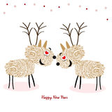 Rein Deers avec le vecteur de carte de voeux de bonne année d'empreintes digitales Photographie stock