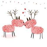 Rein Deers avec le vecteur de carte de voeux de bonne année d'empreintes digitales Image libre de droits