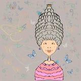 Reina con un alto peinado Imagen del vector Fotografía de archivo libre de regalías