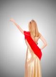 Reina de belleza en la competencia contra la pendiente Fotos de archivo