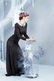 Reina de la nieve, diciembre Mujer elegante en vestido largo Invierno Imagenes de archivo