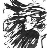 Reina de la oscuridad del vector Pelo negro de la fantasía Tinta exhausta Fotos de archivo