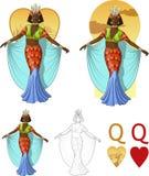 Reina de la tarjeta afroamericana de la mafia de la actriz de los corazones Imagenes de archivo