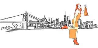 Reina de las compras delante del panorama de Nueva York Fotografía de archivo