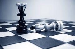Reina del ajedrez y rey caido fotografía de archivo libre de regalías