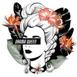 Reina del drama Ejemplo exhausto de la mano del vector de la muchacha bonita con las flores y las hojas de palma aisladas libre illustration