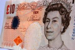 Reina Elizabeth nota de diez libras fotos de archivo libres de regalías