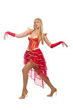 Reina en el vestido rojo aislado Imágenes de archivo libres de regalías