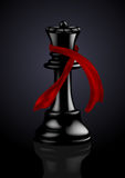 Reina negra del ajedrez con una bufanda de la manera Fotos de archivo