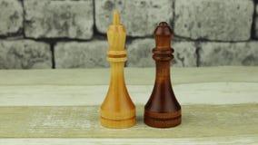 Reina negra del ajedrez y rey blanco almacen de video