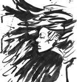 Reina oscura de cuervos Pelo negro de la fantasía Tinta exhausta Imagen de archivo