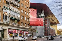 Reina Sofia Museum Exterior View, Madrid, Spanien Lizenzfreie Stockfotos