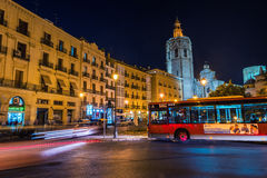 Reina square in Valencia at night Royalty Free Stock Photography