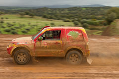 Reinaldo Varela drives a Mitsubishi Pajero Stock Images