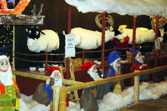 Reindders stable. Elfs in a stall in a shopping mall of berlin in germany Royalty Free Stock Photo