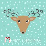 Reindeeer head. Merry christmas. Candy cane. Cute cartoon deer face with curly horns. Blue winter snow flake background. Greeting. Card. Flat design. Vector Stock Photography