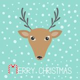 Reindeeer head. Merry christmas. Candy cane. Cute cartoon. Funny deer face with horns. Blue winter snow flake background. Greeting card. Flat design. Vector Stock Photos