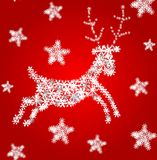 Reindeer. Vector snowflake reindeer on red background Stock Image
