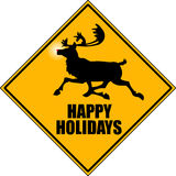 Reindeer. Graphic depicting a reindeer crossing road sign Stock Photos
