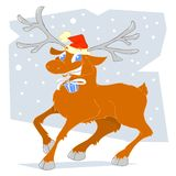 Reindeer. With a present in his teeth vector illustration