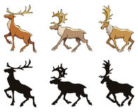 Reindeer. Three reindeer with silhouettes, vector illustration Stock Image