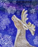 Reindeer. Rudolph the Red nose in the winter of Looking at the sky Royalty Free Illustration