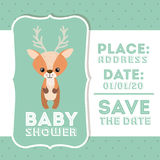 Reindeer animal baby shower card icon Stock Photos