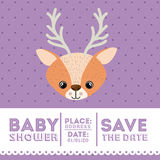 Reindeer animal baby shower card icon Stock Photography