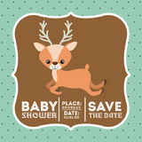 Reindeer animal baby shower card icon Stock Photos