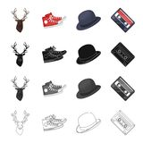 Reindeer antlers, gumshoes, hat, audio cassette. Hipster style set collection icons in cartoon black monochrome outline Royalty Free Stock Photos