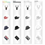Reindeer antlers, gumshoes, hat, audio cassette. Hipster style set collection icons in cartoon black monochrome outline. Style vector symbol stock illustration Stock Image