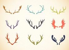 Reindeer Antlers Illustration in Vector. Deer horns label set vector illustration