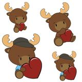 Reindeer baby cartoon heart set Stock Image