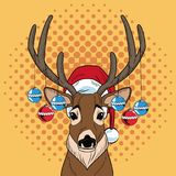 Reindeer with balls Christmas pop art. Vector illustration graphic royalty free illustration