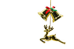 Reindeer and bell isolated on white background Stock Photography