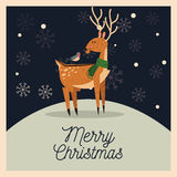Reindeer and bird cartoon of Christmas design Royalty Free Stock Images