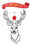 Reindeer with boll,stroll banner.Christmas card Stock Photos