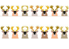 Reindeer border. Cute reindeer in a row vector illustration